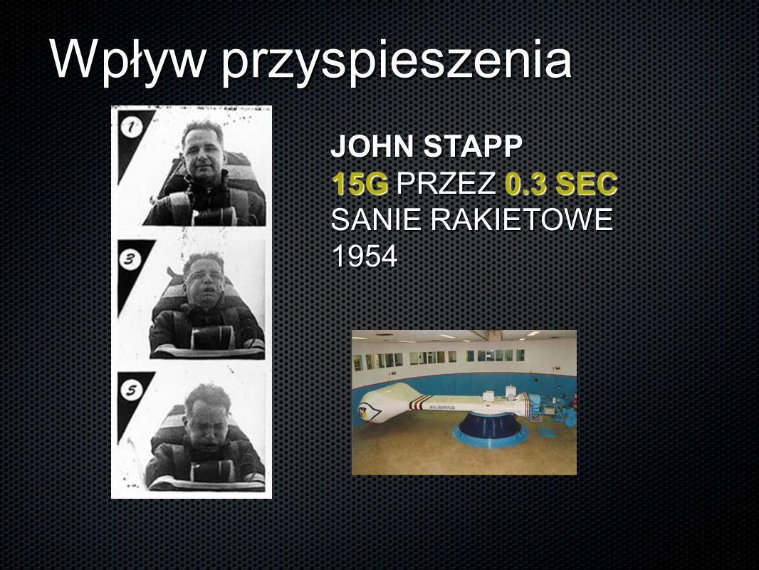 Wpływ przyspieszenia JOHN STAPP 15G PRZEZ 0.3 SEC SANIE RAKIETOWE 1954