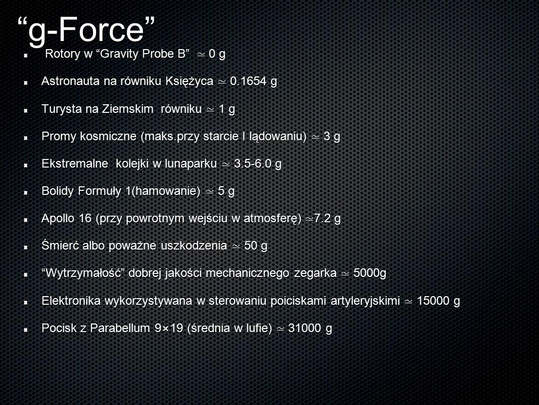 """""""g-Force"""" Rotory w """"Gravity Probe B"""" ≃ 0 g Astronauta na równiku Księżyca ≃ 0.1654 g Turysta na Ziemskim równiku ≃ 1 g Promy kosmiczne (maks.przy star"""