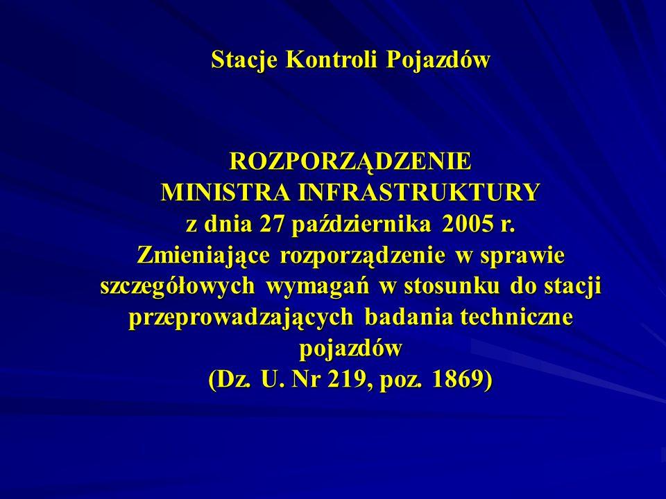 Stacje Kontroli Pojazdów ROZPORZĄDZENIE MINISTRA INFRASTRUKTURY z dnia 27 października 2005 r.