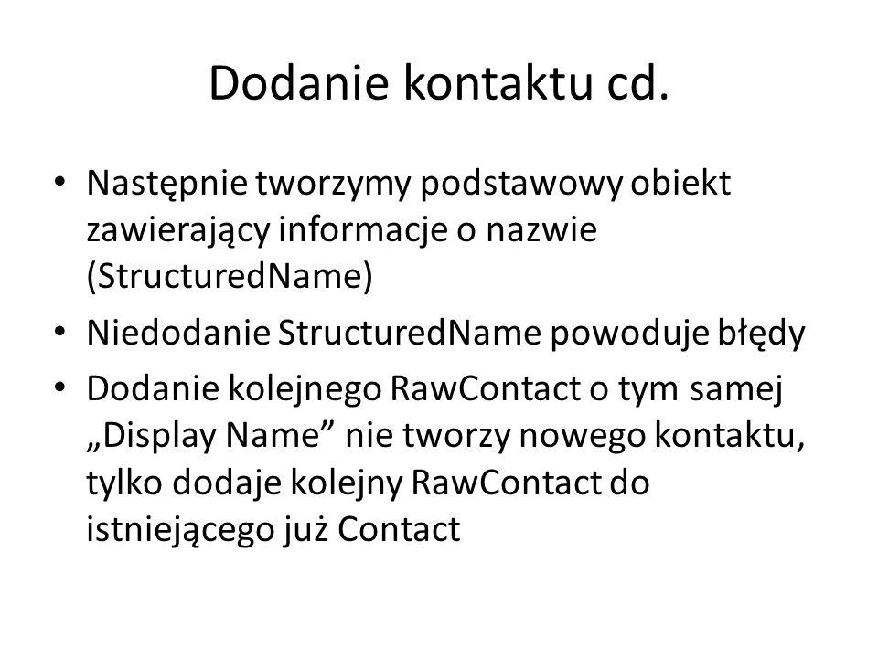 Dodanie kontaktu cd.