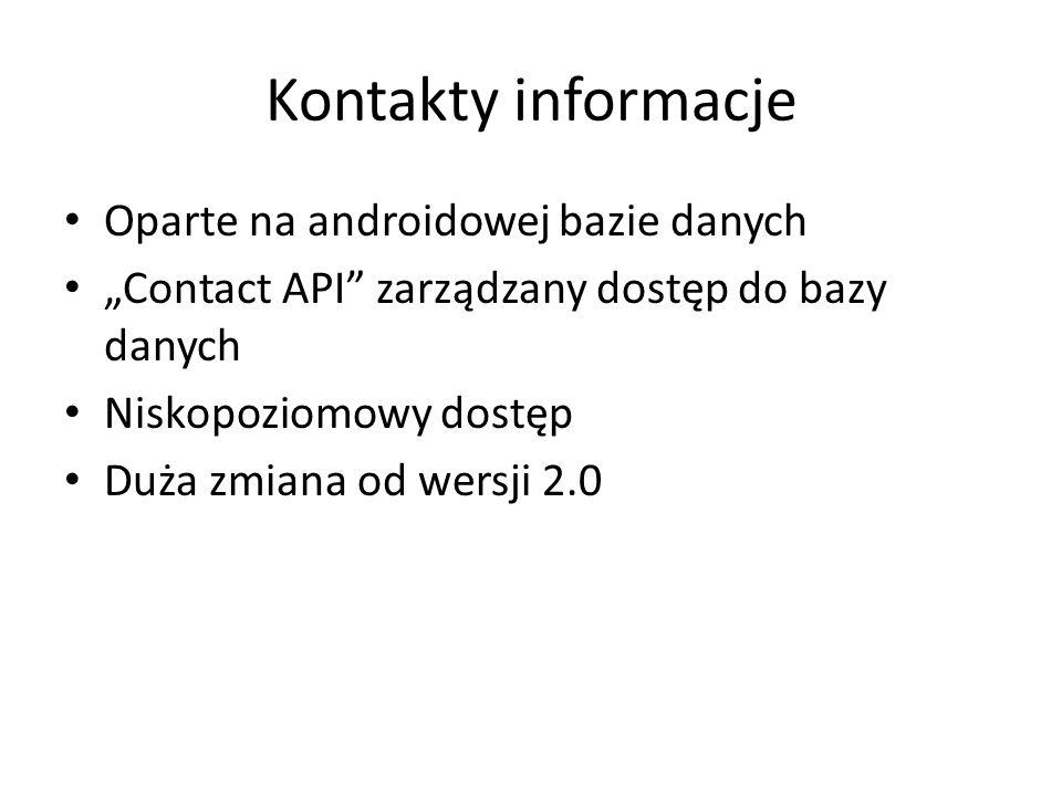 """Kontakty informacje Oparte na androidowej bazie danych """"Contact API zarządzany dostęp do bazy danych Niskopoziomowy dostęp Duża zmiana od wersji 2.0"""