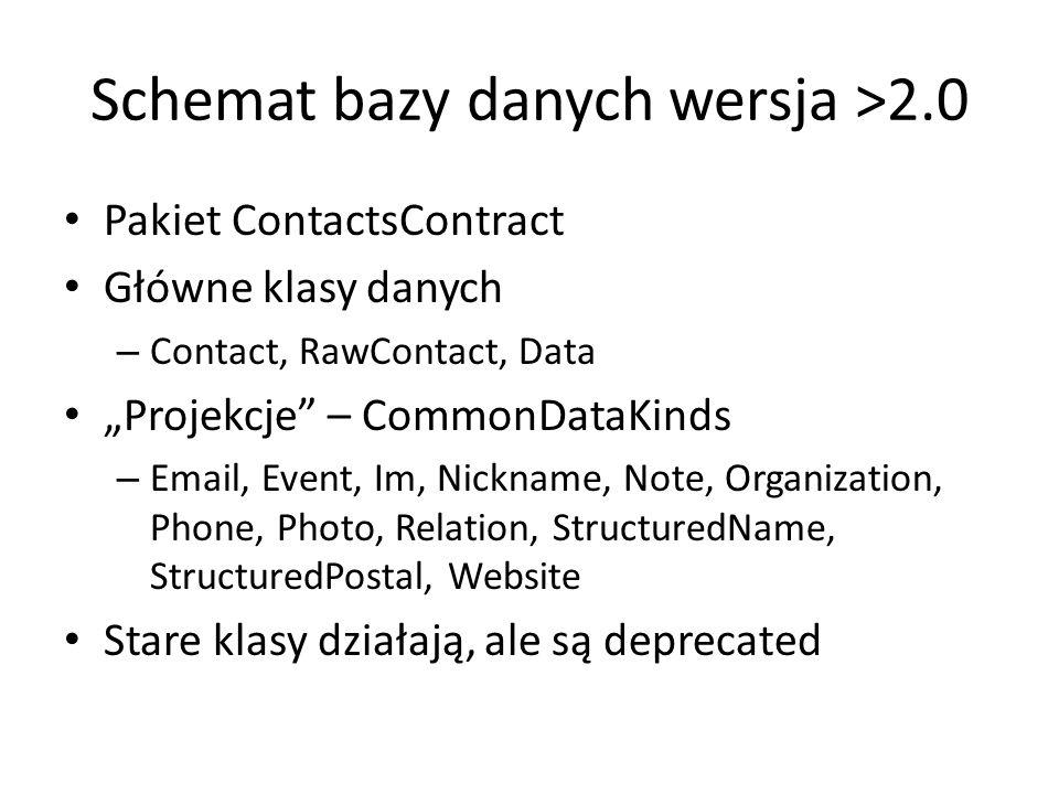 """Schemat bazy danych wersja >2.0 Pakiet ContactsContract Główne klasy danych – Contact, RawContact, Data """"Projekcje – CommonDataKinds – Email, Event, Im, Nickname, Note, Organization, Phone, Photo, Relation, StructuredName, StructuredPostal, Website Stare klasy działają, ale są deprecated"""