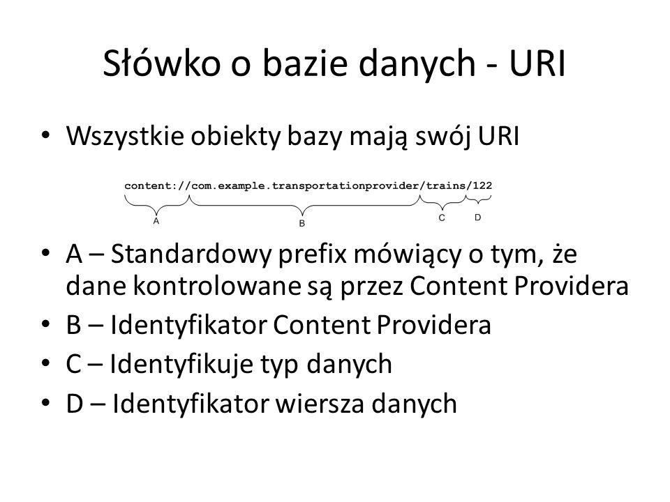Słówko o bazie danych - URI Wszystkie obiekty bazy mają swój URI A – Standardowy prefix mówiący o tym, że dane kontrolowane są przez Content Providera B – Identyfikator Content Providera C – Identyfikuje typ danych D – Identyfikator wiersza danych