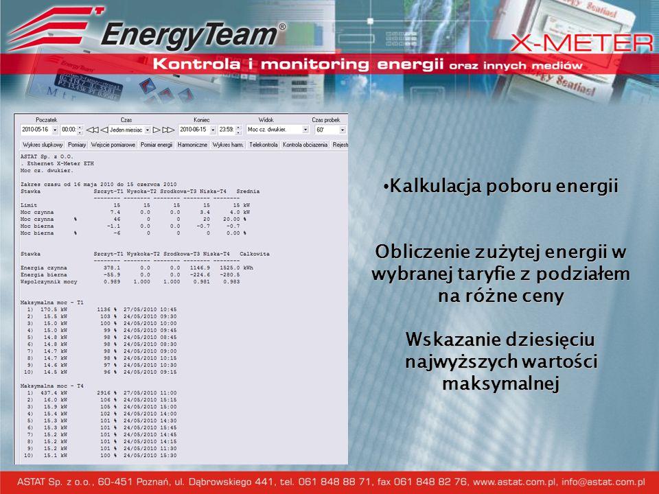 Kalkulacja poboru energii Obliczenie zużytej energii w wybranej taryfie z podziałem na różne ceny Wskazanie dziesięciu najwyższych wartości maksymalne