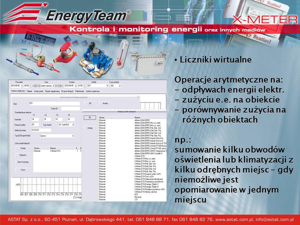 Liczniki wirtualne Operacje arytmetyczne na: - odpływach energii elektr. - zużyciu e.e. na obiekcie - porównywanie zużycia na różnych obiektach np.: s