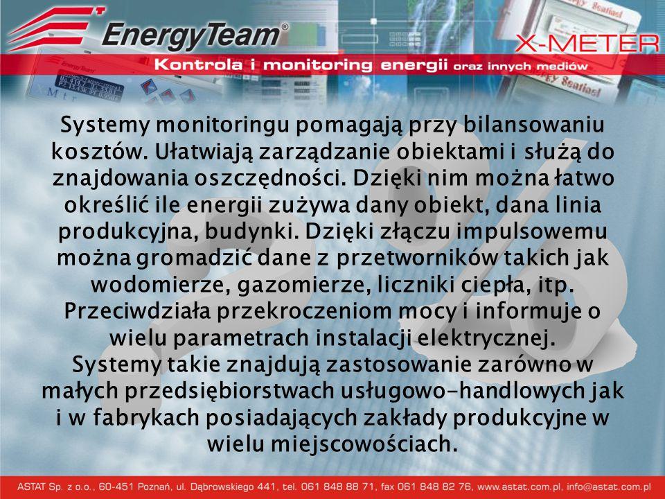 Program nadzorczo-kontrolny ES3 - podstawowe cechy i możliwości Prezentacja graficzna pomiarów wykonanych przez urządzenia X-Meter (pobór mocy czynnej i biernej, napięcia, prądu, cos(fi)) Prezentacja graficzna pomiarów wykonanych przez urządzenia X-Meter (pobór mocy czynnej i biernej, napięcia, prądu, cos(fi)) Pomiar on-line podstawowych parametrów elektrycznych Pomiar on-line podstawowych parametrów elektrycznych Rejestr zdarzeń i alarmowanie (dowolna konfiguracja progów alarmowych i wartości granicznych) Rejestr zdarzeń i alarmowanie (dowolna konfiguracja progów alarmowych i wartości granicznych) Obliczanie zużytej energii w danym przedziale czasu dla konkretnej taryfy energetycznej Obliczanie zużytej energii w danym przedziale czasu dla konkretnej taryfy energetycznej Archiwizacja pomiarów i eksport danych Archiwizacja pomiarów i eksport danych Prezentacja pomiarów z podłączonych do systemu innych urządzeń takich jak: liczniki energii, wody, gazu itp.