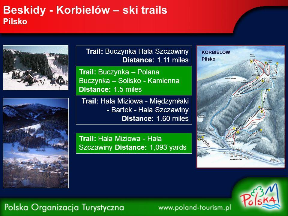 Beskidy - Korbielów – ski trails Pilsko Trail: Buczynka Hala Szczawiny Distance: 1.11 miles Trail: Buczynka – Polana Buczynka – Solisko - Kamienna Distance: 1.5 miles Trail: Hala Miziowa - Międzymłaki - Bartek - Hala Szczawiny Distance: 1.60 miles Trail: Hala Miziowa - Hala Szczawiny Distance: 1,093 yards