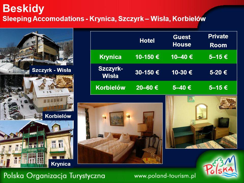 Beskidy Sleeping Accomodations - Krynica, Szczyrk – Wisła, Korbielów Krynica Korbielów Szczyrk - Wisła Hotel Guest House Private Room Krynica10-150 €1