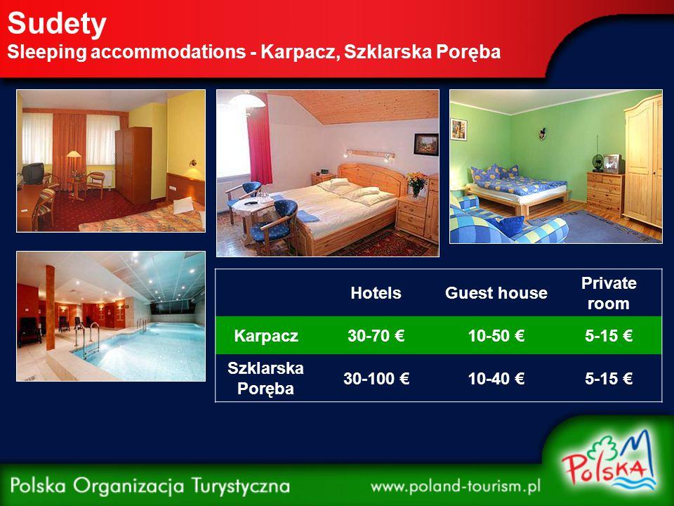 Sudety Sleeping accommodations - Karpacz, Szklarska Poręba HotelsGuest house Private room Karpacz30-70 €10-50 €5-15 € Szklarska Poręba 30-100 €10-40 €5-15 €