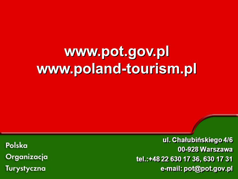 www.pot.gov.pl www.poland-tourism.pl www.pot.gov.pl www.poland-tourism.pl ul. Chałubińskiego 4/6 00-928 Warszawa tel.:+48 22 630 17 36, 630 17 31 e-ma