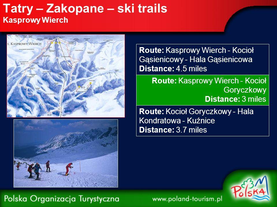 """Beskidy – Krynica – ski trails Jaworzyna Krynicka Trail: nr I Red Distance: 1.61 miles Lighting: yes Artificial snow: yes Trail: nr II, IIA Red """"Rodzinna Distance: 984 yd Lighting: no Artificial snow: yes Trail: nr III Blue Distance: 710 yd Lighting: yes Artificial snow: yes Trail: nr V Black Distance: 1,093 yd Lighting: no Artificial snow: yes Trail: nr VIIA Green Distance: 271 yd Lighting: no Artificial snow: yes"""