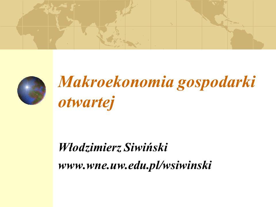 Makroekonomia gospodarki otwartej Włodzimierz Siwiński www.wne.uw.edu.pl/wsiwinski