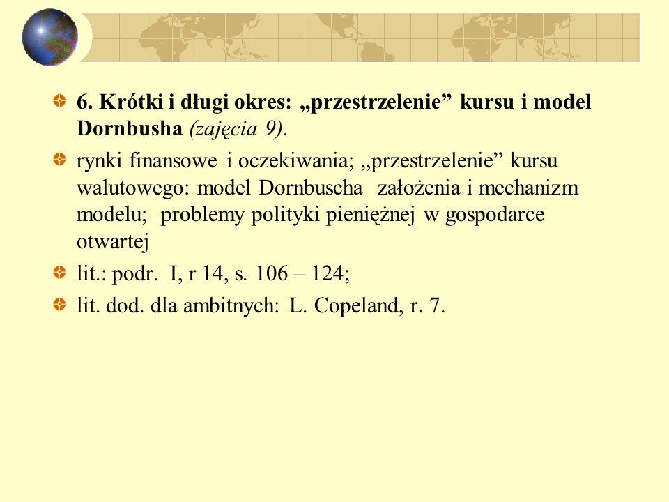 """6. Krótki i długi okres: """"przestrzelenie"""" kursu i model Dornbusha (zajęcia 9). rynki finansowe i oczekiwania; """"przestrzelenie"""" kursu walutowego: model"""