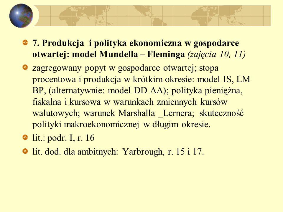 7. Produkcja i polityka ekonomiczna w gospodarce otwartej: model Mundella – Fleminga (zajęcia 10, 11) zagregowany popyt w gospodarce otwartej; stopa p