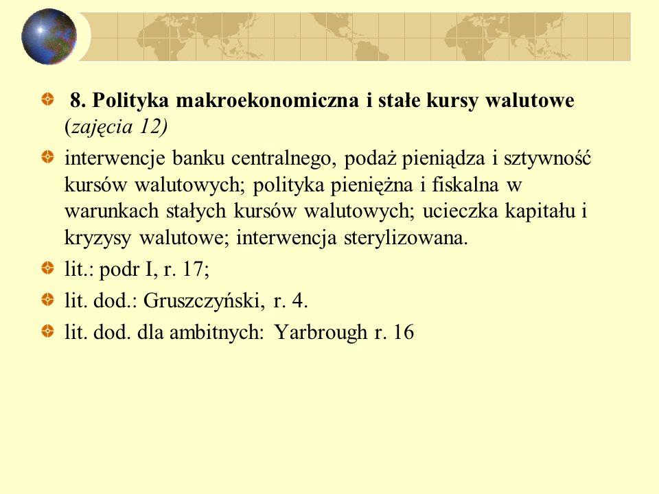 8. Polityka makroekonomiczna i stałe kursy walutowe (zajęcia 12) interwencje banku centralnego, podaż pieniądza i sztywność kursów walutowych; polityk