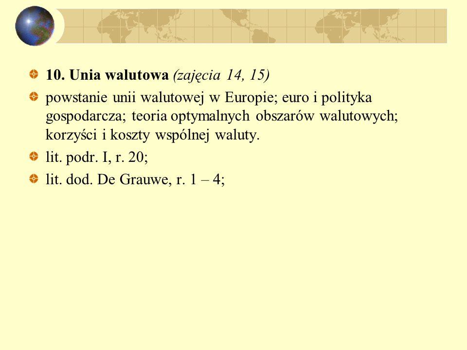 10. Unia walutowa (zajęcia 14, 15) powstanie unii walutowej w Europie; euro i polityka gospodarcza; teoria optymalnych obszarów walutowych; korzyści i
