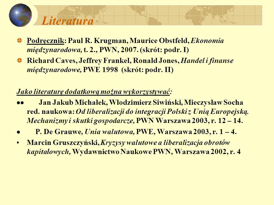 Literatura Podręcznik: Paul R. Krugman, Maurice Obstfeld, Ekonomia międzynarodowa, t. 2., PWN, 2007. (skrót: podr. I) Richard Caves, Jeffrey Frankel,