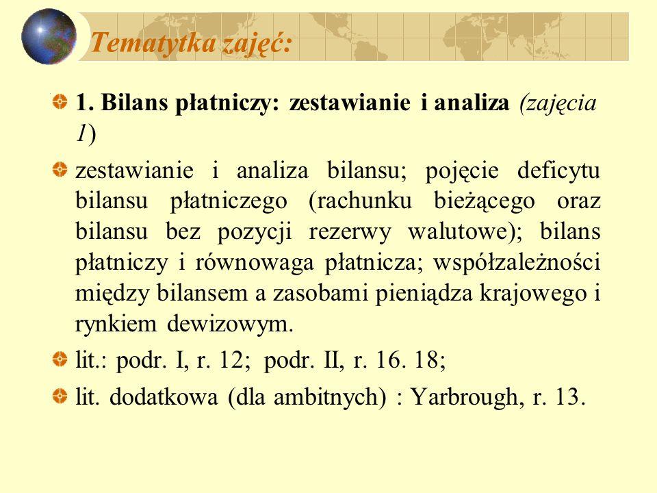 Tematytka zajęć: 1. Bilans płatniczy: zestawianie i analiza (zajęcia 1) zestawianie i analiza bilansu; pojęcie deficytu bilansu płatniczego (rachunku