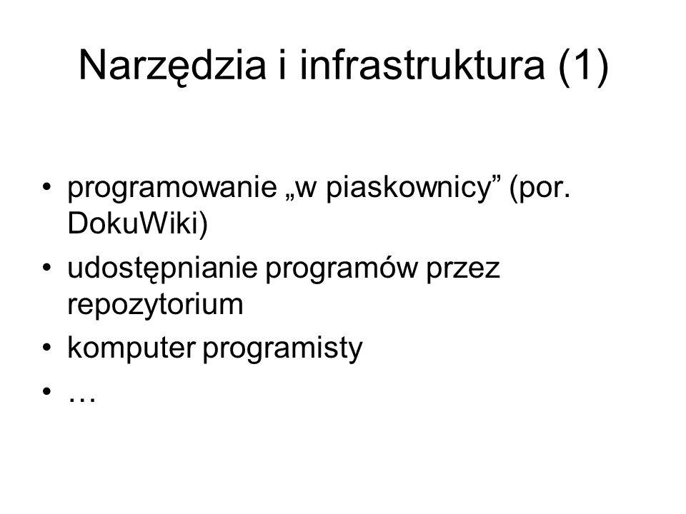 """Narzędzia i infrastruktura (1) programowanie """"w piaskownicy (por."""