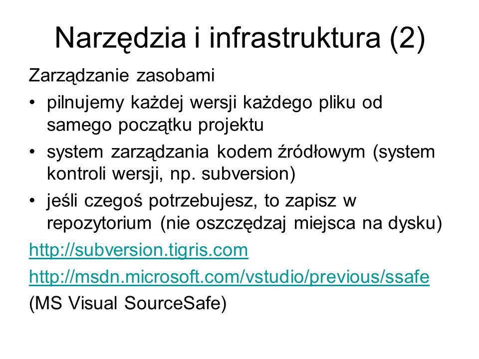 Narzędzia i infrastruktura (2) Zarządzanie zasobami pilnujemy każdej wersji każdego pliku od samego początku projektu system zarządzania kodem źródłowym (system kontroli wersji, np.