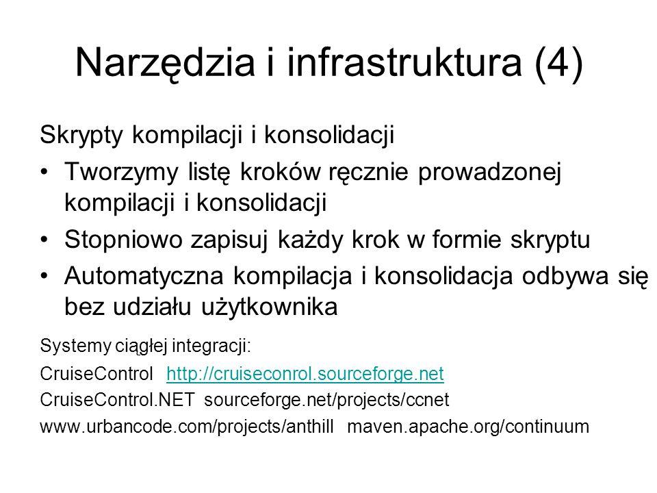 Narzędzia i infrastruktura (4) Skrypty kompilacji i konsolidacji Tworzymy listę kroków ręcznie prowadzonej kompilacji i konsolidacji Stopniowo zapisuj każdy krok w formie skryptu Automatyczna kompilacja i konsolidacja odbywa się bez udziału użytkownika Systemy ciągłej integracji: CruiseControl http://cruiseconrol.sourceforge.nethttp://cruiseconrol.sourceforge.net CruiseControl.NET sourceforge.net/projects/ccnet www.urbancode.com/projects/anthill maven.apache.org/continuum