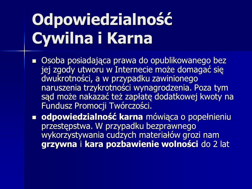 Netografia: http://www.net7.pl/odpowiedzialnosc.html http://www.net7.pl/odpowiedzialnosc.html http://www.net7.pl/odpowiedzialnosc.html http://www.racjonalista.pl/kk.php/s,3636 http://www.racjonalista.pl/kk.php/s,3636 http://www.racjonalista.pl/kk.php/s,3636 http://homepages.ihug.co.nz/~antora/KULTINT/PRZEDRUK/P RAWO.HTM http://homepages.ihug.co.nz/~antora/KULTINT/PRZEDRUK/P RAWO.HTM http://homepages.ihug.co.nz/~antora/KULTINT/PRZEDRUK/P RAWO.HTM http://homepages.ihug.co.nz/~antora/KULTINT/PRZEDRUK/P RAWO.HTM http://www.sciaga.pl/tekst/68773-69- prawa_autorskie_a_internet http://www.sciaga.pl/tekst/68773-69- prawa_autorskie_a_internet