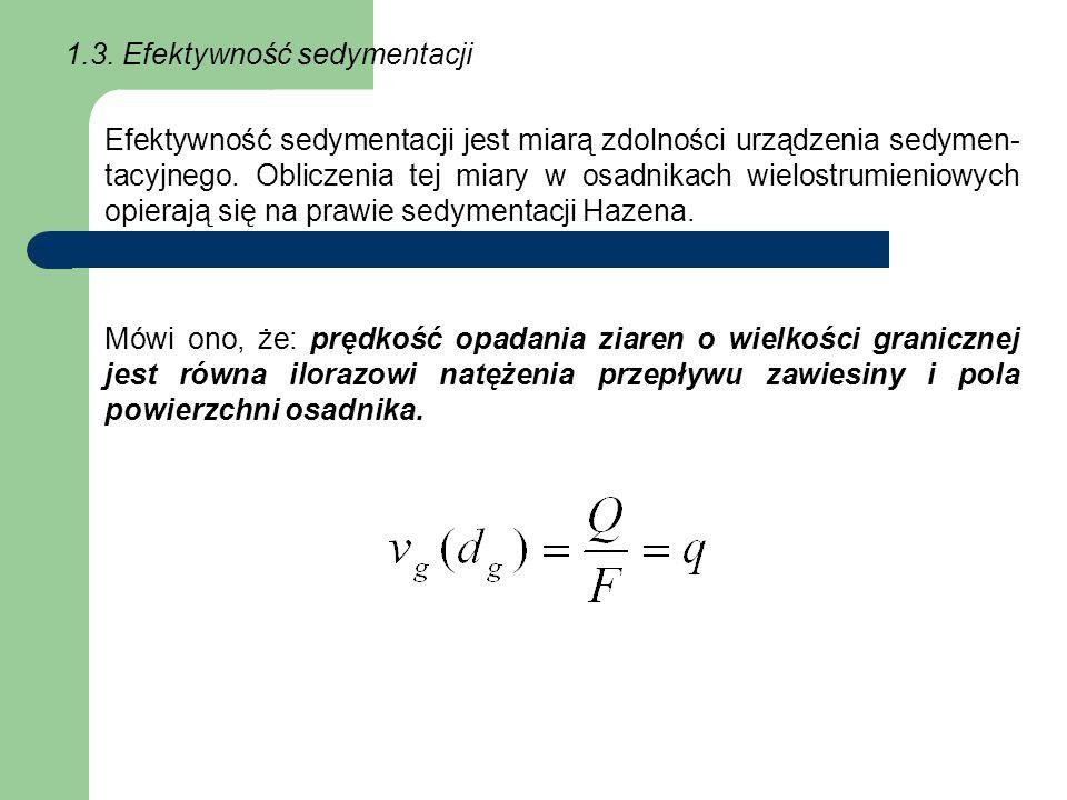 1.3. Efektywność sedymentacji Efektywność sedymentacji jest miarą zdolności urządzenia sedymen- tacyjnego. Obliczenia tej miary w osadnikach wielostru