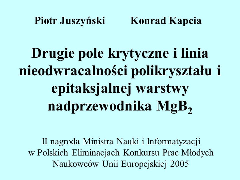 Drugie pole krytyczne i linia nieodwracalności polikryształu i epitaksjalnej warstwy nadprzewodnika MgB 2 II nagroda Ministra Nauki i Informatyzacji w