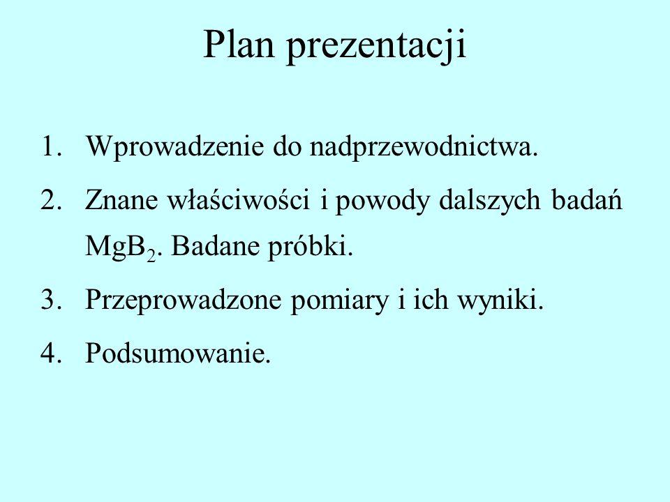Plan prezentacji 1.Wprowadzenie do nadprzewodnictwa. 2.Znane właściwości i powody dalszych badań MgB 2. Badane próbki. 3.Przeprowadzone pomiary i ich