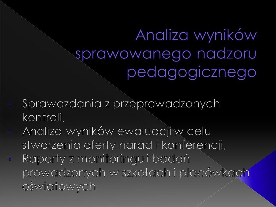  ORGANIZACJA BADANIA: TERMIN: maj 2011 rok FORMA: badanie on - line poprzez wypełnienie formularza na stronie internetowej Kuratorium Oświaty w Kielcach (www.kuratorium.kielce.pl) ODPOWIEDZIALNI: dyrektorzy szkół udzielający odpowiedzi w oparciu o wyniki ewaluacji wewnętrznej oraz wnioski z prowadzonego nadzoru pedagogicznego W MONITORINGU UDZIA Ł WZIĘŁO: 136 szkół podstawowych, 71 gimnazjów, 47 szkół ponadgimnazjalnych – jest to zaledwie około 30% wszystkich szkół