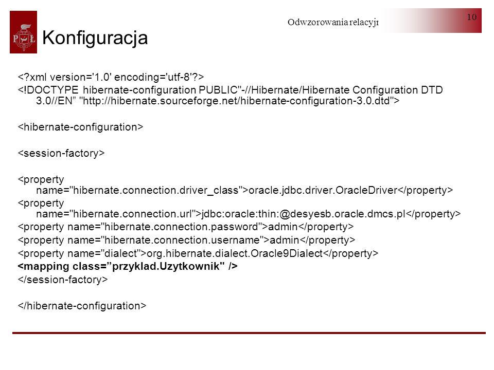 Odwzorowania relacyjno-obiektowe 10 Konfiguracja oracle.jdbc.driver.OracleDriver jdbc:oracle:thin:@desyesb.oracle.dmcs.pl admin org.hibernate.dialect.