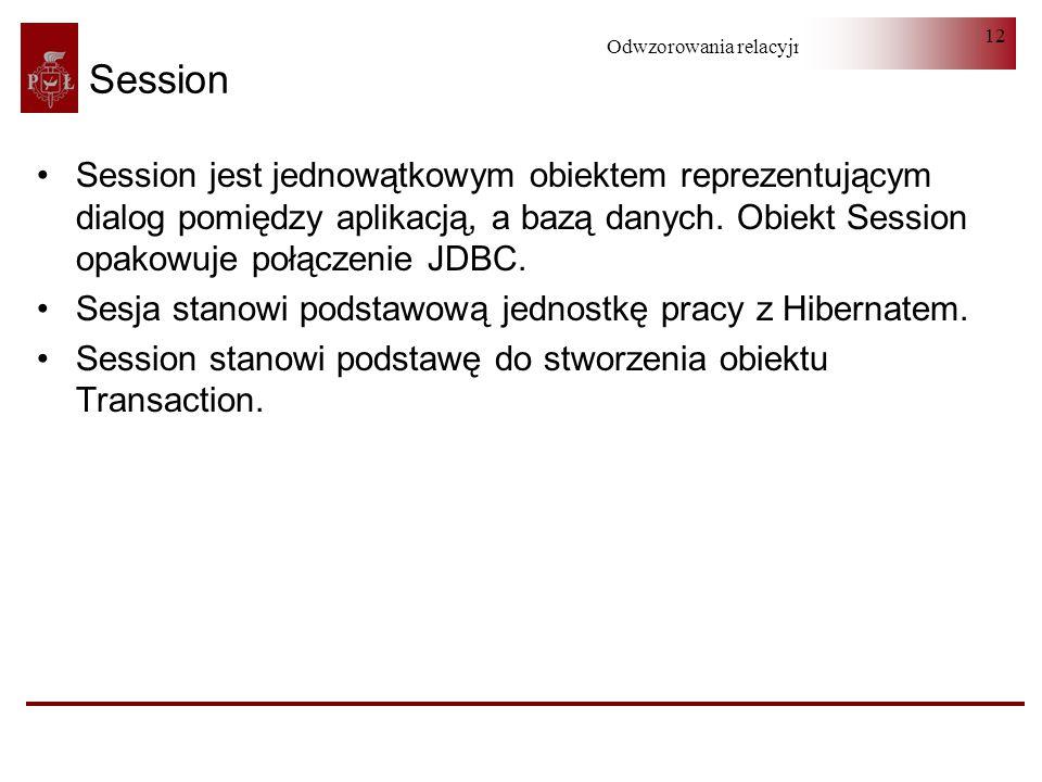 Odwzorowania relacyjno-obiektowe 12 Session Session jest jednowątkowym obiektem reprezentującym dialog pomiędzy aplikacją, a bazą danych. Obiekt Sessi