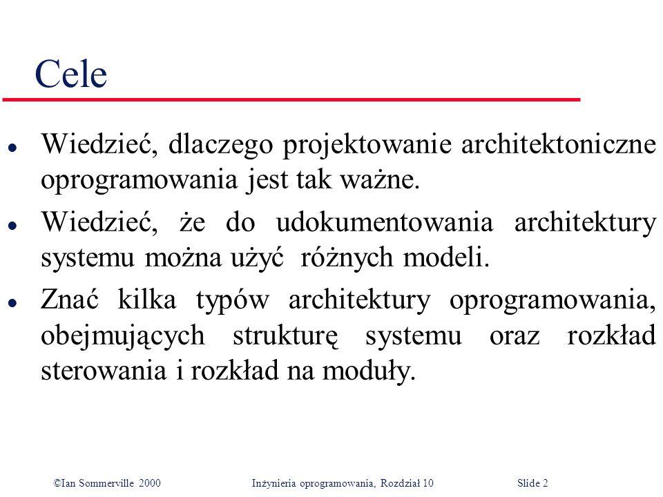 ©Ian Sommerville 2000 Inżynieria oprogramowania, Rozdział 10Slide 3 Zawartość l Strukturalizacja systemu l Modele sterowania l Rozkład na moduły l Architektury charakterystyczne dla różnych dziedzin