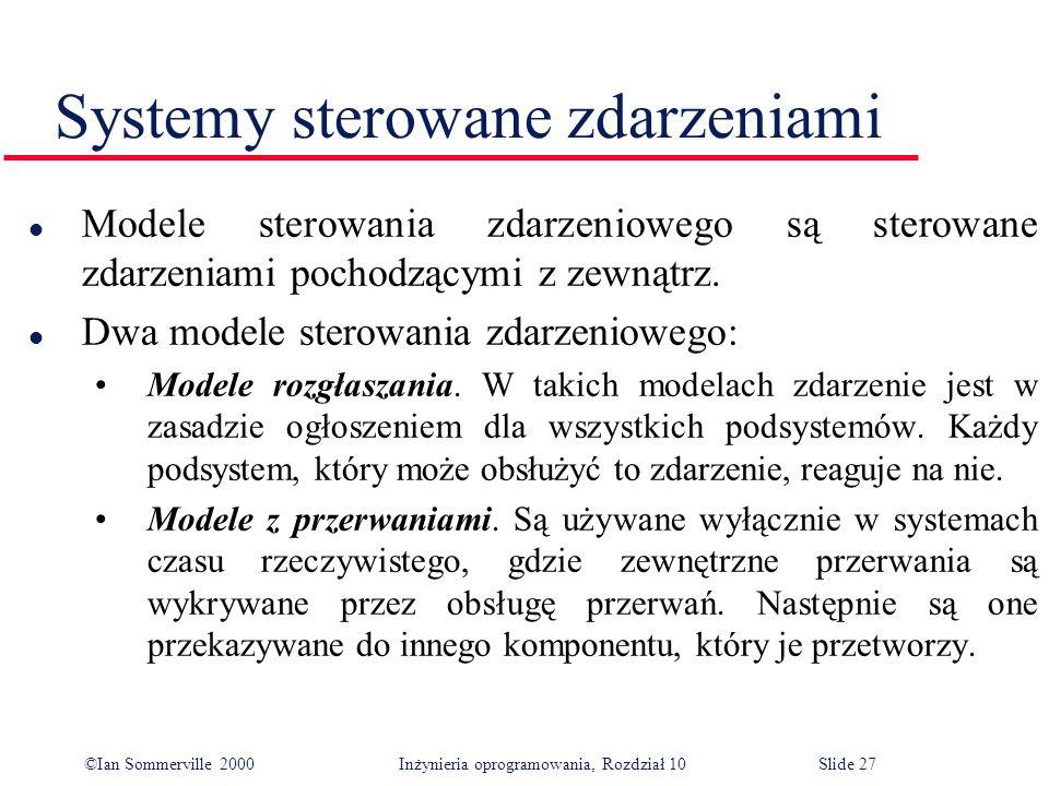 ©Ian Sommerville 2000 Inżynieria oprogramowania, Rozdział 10Slide 27 Systemy sterowane zdarzeniami l Modele sterowania zdarzeniowego są sterowane zdarzeniami pochodzącymi z zewnątrz.