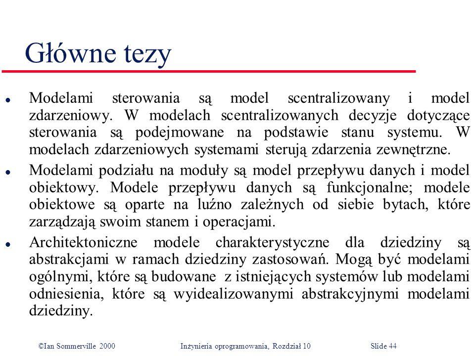 ©Ian Sommerville 2000 Inżynieria oprogramowania, Rozdział 10Slide 44 Główne tezy l Modelami sterowania są model scentralizowany i model zdarzeniowy.