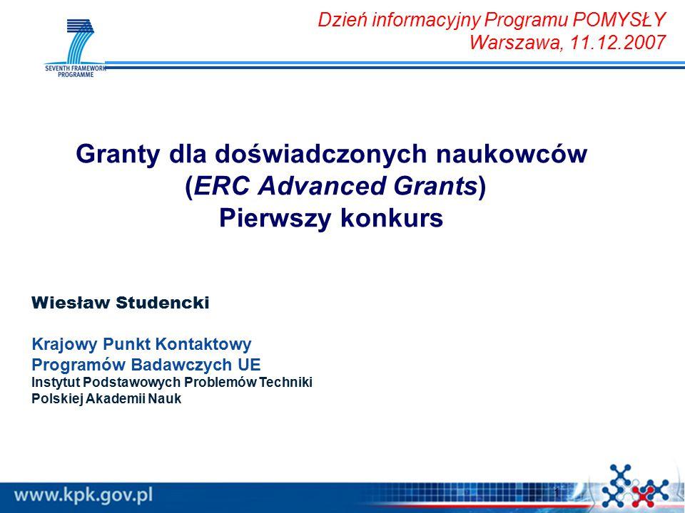 1 Wiesław Studencki Krajowy Punkt Kontaktowy Programów Badawczych UE Instytut Podstawowych Problemów Techniki Polskiej Akademii Nauk Dzień informacyjn