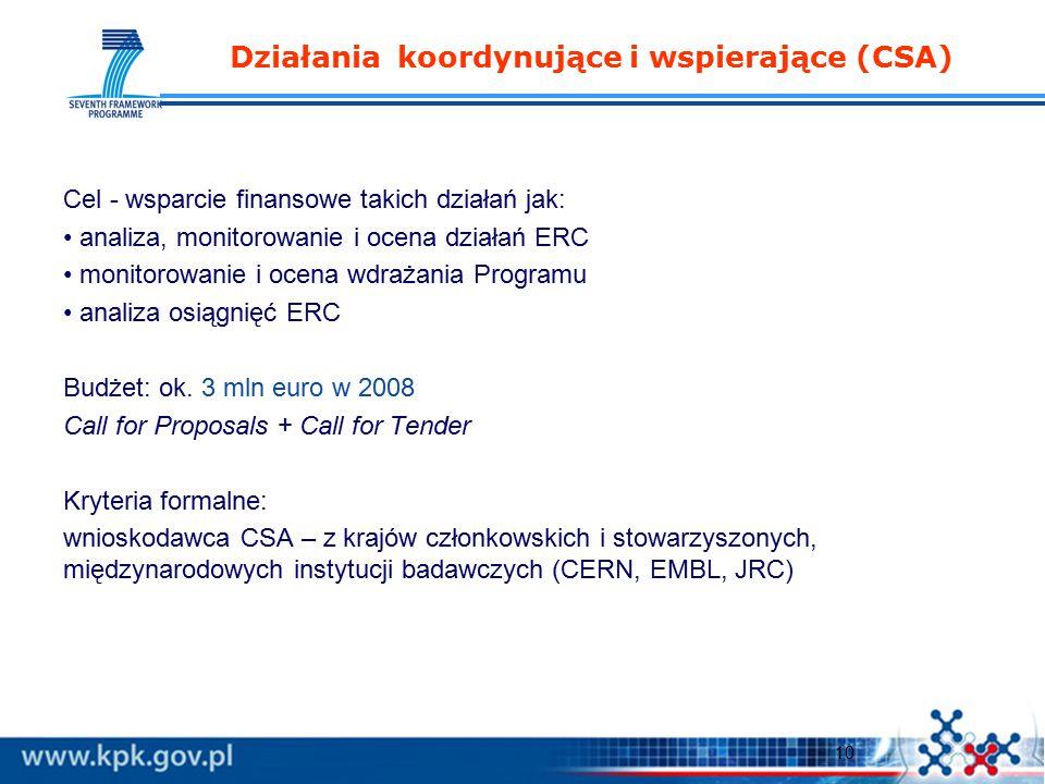 10 Działania koordynujące i wspierające (CSA) Cel - wsparcie finansowe takich działań jak: analiza, monitorowanie i ocena działań ERC monitorowanie i ocena wdrażania Programu analiza osiągnięć ERC Budżet: ok.