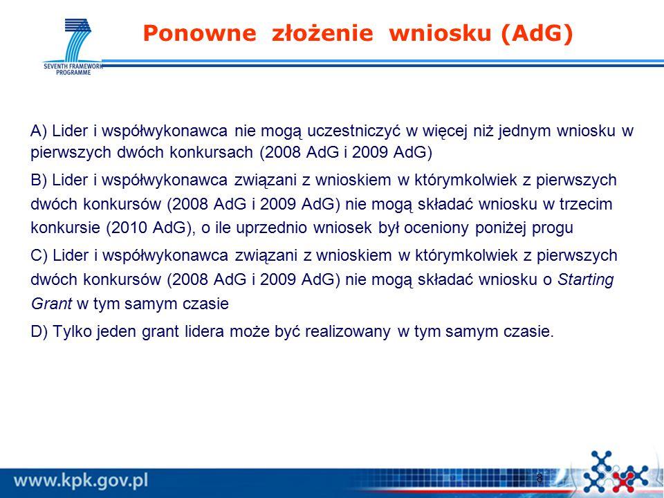 8 Ponowne złożenie wniosku (AdG) A) Lider i współwykonawca nie mogą uczestniczyć w więcej niż jednym wniosku w pierwszych dwóch konkursach (2008 AdG i 2009 AdG) B) Lider i współwykonawca związani z wnioskiem w którymkolwiek z pierwszych dwóch konkursów (2008 AdG i 2009 AdG) nie mogą składać wniosku w trzecim konkursie (2010 AdG), o ile uprzednio wniosek był oceniony poniżej progu C) Lider i współwykonawca związani z wnioskiem w którymkolwiek z pierwszych dwóch konkursów (2008 AdG i 2009 AdG) nie mogą składać wniosku o Starting Grant w tym samym czasie D) Tylko jeden grant lidera może być realizowany w tym samym czasie.