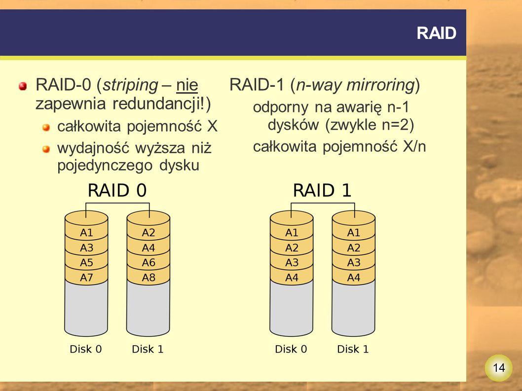 14 RAID RAID-0 (striping – nie zapewnia redundancji!) całkowita pojemność X wydajność wyższa niż pojedynczego dysku RAID-1 (n-way mirroring) odporny na awarię n-1 dysków (zwykle n=2) całkowita pojemność X/n
