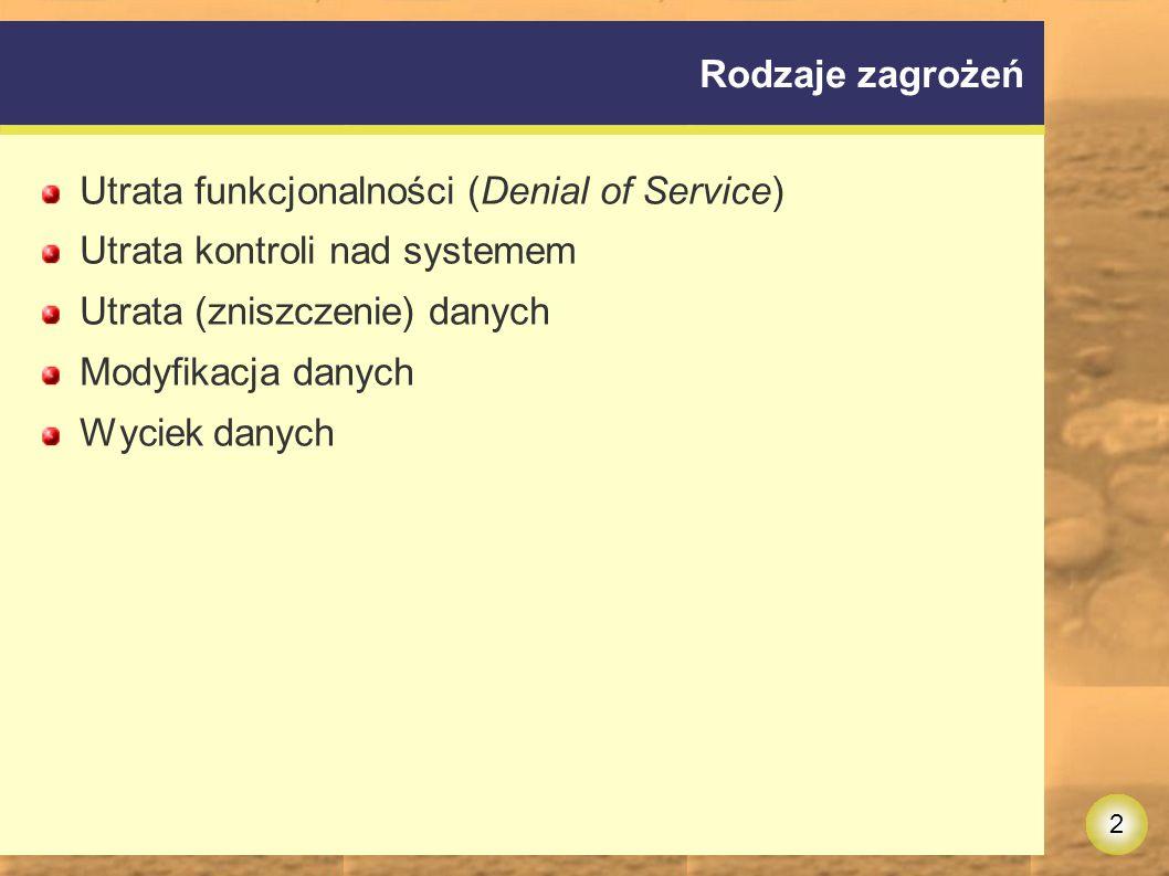 2 Rodzaje zagrożeń Utrata funkcjonalności (Denial of Service) Utrata kontroli nad systemem Utrata (zniszczenie) danych Modyfikacja danych Wyciek danych
