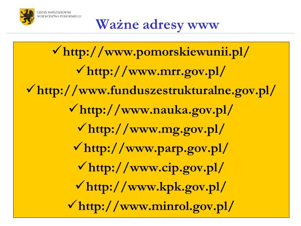 Ważne adresy www http://www.pomorskiewunii.pl/ http://www.mrr.gov.pl/ http://www.funduszestrukturalne.gov.pl/ http://www.nauka.gov.pl/ http://www.mg.gov.pl/ http://www.parp.gov.pl/ http://www.cip.gov.pl/ http://www.kpk.gov.pl/ http://www.minrol.gov.pl/