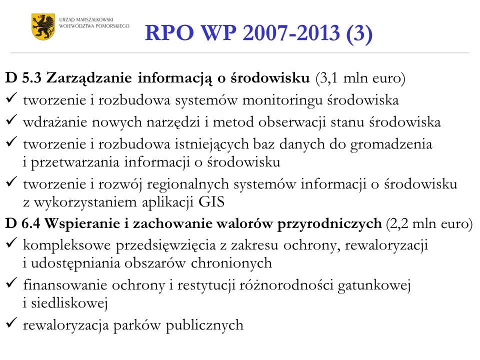 D 5.3 Zarządzanie informacją o środowisku (3,1 mln euro) tworzenie i rozbudowa systemów monitoringu środowiska wdrażanie nowych narzędzi i metod obser