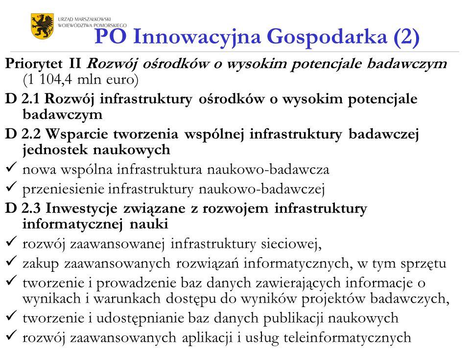PO Innowacyjna Gospodarka (2) Priorytet II Rozwój ośrodków o wysokim potencjale badawczym (1 104,4 mln euro) D 2.1 Rozwój infrastruktury ośrodków o wysokim potencjale badawczym D 2.2 Wsparcie tworzenia wspólnej infrastruktury badawczej jednostek naukowych nowa wspólna infrastruktura naukowo-badawcza przeniesienie infrastruktury naukowo-badawczej D 2.3 Inwestycje związane z rozwojem infrastruktury informatycznej nauki rozwój zaawansowanej infrastruktury sieciowej, zakup zaawansowanych rozwiązań informatycznych, w tym sprzętu tworzenie i prowadzenie baz danych zawierających informacje o wynikach i warunkach dostępu do wyników projektów badawczych, tworzenie i udostępnianie baz danych publikacji naukowych rozwój zaawansowanych aplikacji i usług teleinformatycznych