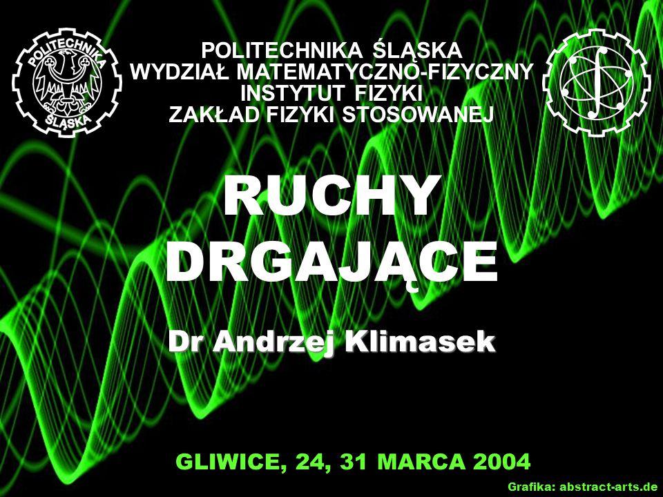 RUCHY DRGAJĄCE Dr Andrzej Klimasek GLIWICE, 24, 31 MARCA 2004 Grafika: abstract-arts.de POLITECHNIKA ŚLĄSKA WYDZIAŁ MATEMATYCZNO-FIZYCZNY INSTYTUT FIZYKI ZAKŁAD FIZYKI STOSOWANEJ