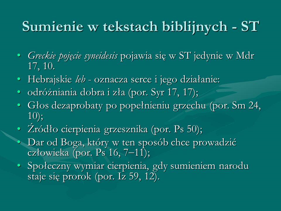 Sumienie w tekstach biblijnych - ST Greckie pojęcie syneidesis pojawia się w ST jedynie w Mdr 17, 10.Greckie pojęcie syneidesis pojawia się w ST jedyn