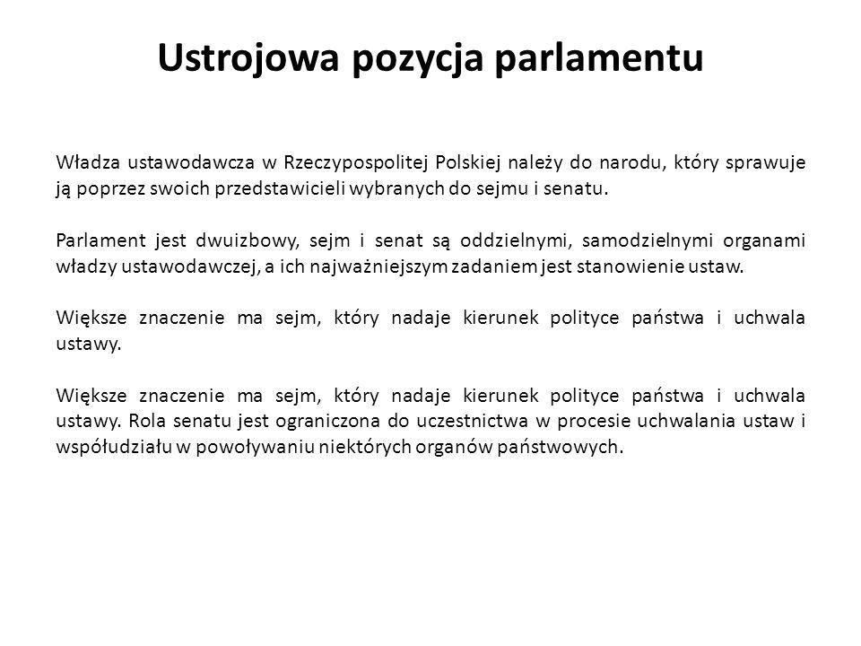 Ustrojowa pozycja parlamentu Władza ustawodawcza w Rzeczypospolitej Polskiej należy do narodu, który sprawuje ją poprzez swoich przedstawicieli wybran