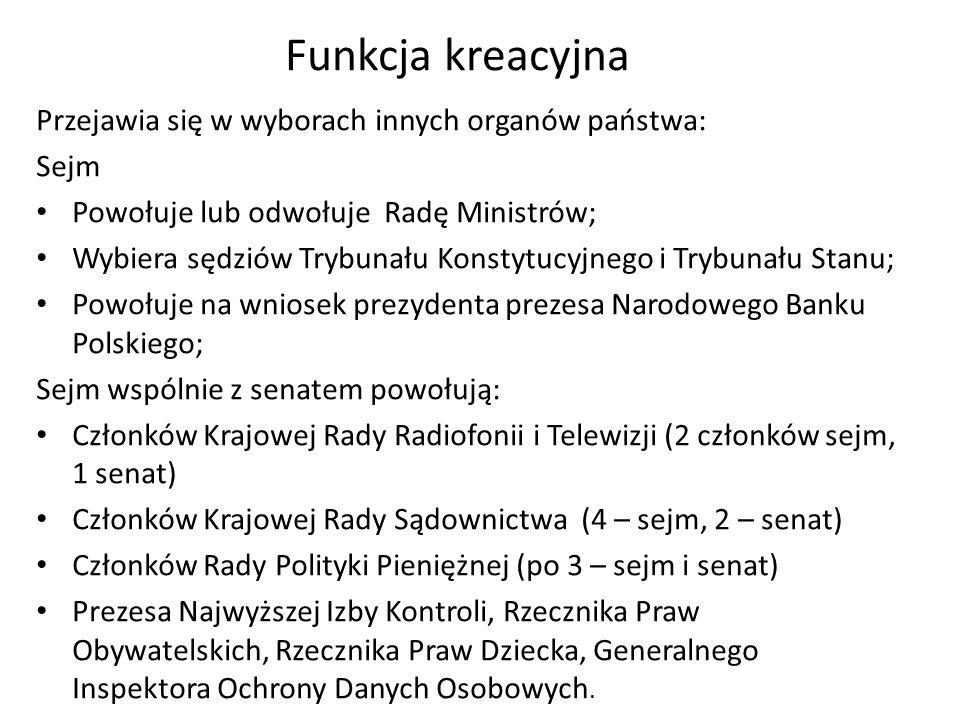 Funkcja kreacyjna Przejawia się w wyborach innych organów państwa: Sejm Powołuje lub odwołuje Radę Ministrów; Wybiera sędziów Trybunału Konstytucyjneg