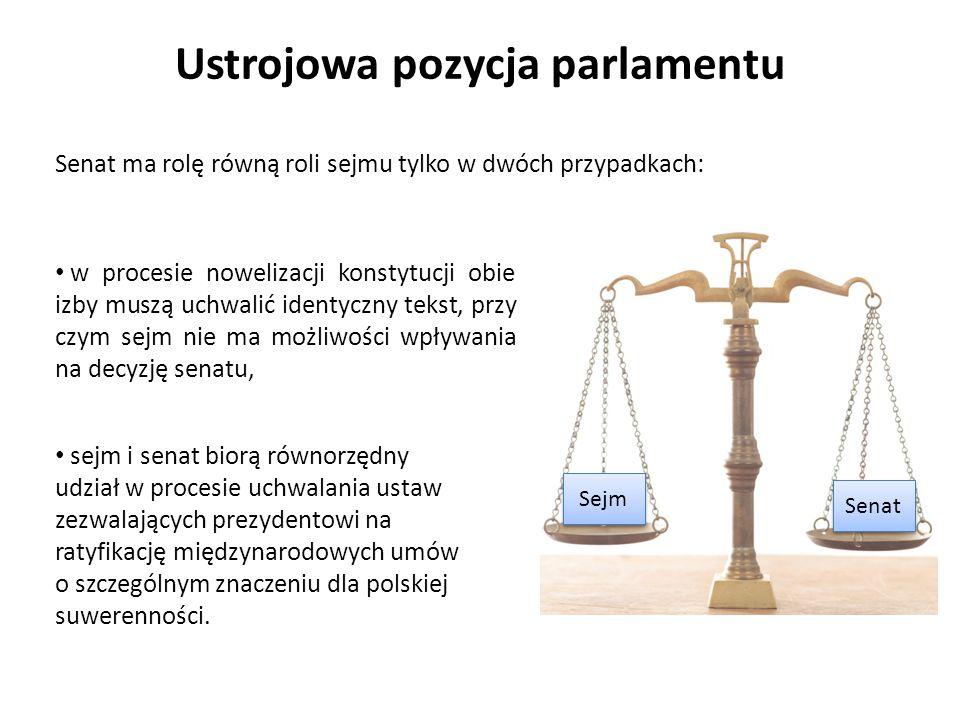 Senat ma rolę równą roli sejmu tylko w dwóch przypadkach: Ustrojowa pozycja parlamentu sejm i senat biorą równorzędny udział w procesie uchwalania ust