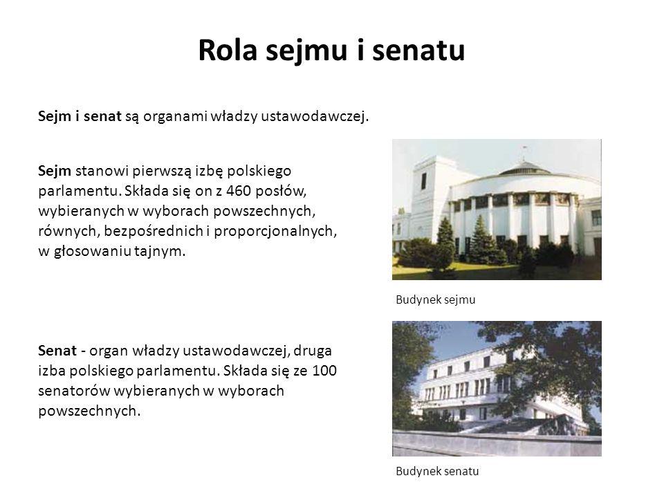 Rola sejmu i senatu Budynek sejmu Budynek senatu Sejm i senat są organami władzy ustawodawczej. Senat - organ władzy ustawodawczej, druga izba polskie