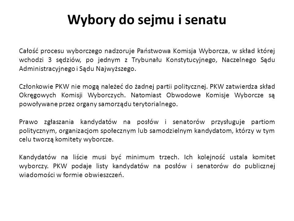 Wybory do sejmu i senatu Całość procesu wyborczego nadzoruje Państwowa Komisja Wyborcza, w skład której wchodzi 3 sędziów, po jednym z Trybunału Konst